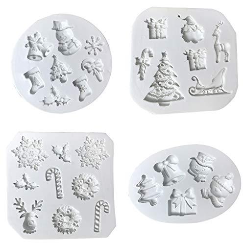 Yintiod 4 stuks Kerstmis fondant vorm siliconen voor snoep, chocolade, cake decoratie, hars, klei