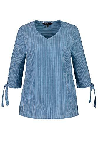 Ulla Popken Damen große Größen Bubbelbluse mit Schleifen am Ärmel Tunika-Shirt, Türkis (Ozeanblau 72748674), 46-48