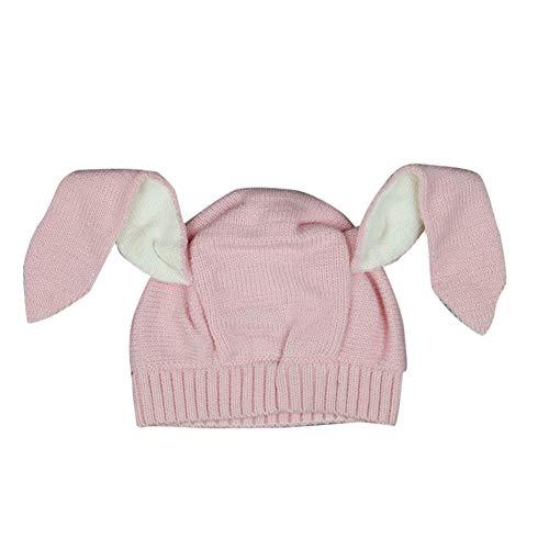 litty089 Winterdekoration für Baby-Beanie-Mütze, niedliches lustiges Tier-Styling mit Hasenohren, Kopfwärmer, Mütze, Häkel-Strickwolle, geeignet für Ihre schönen Kinder hellrosa