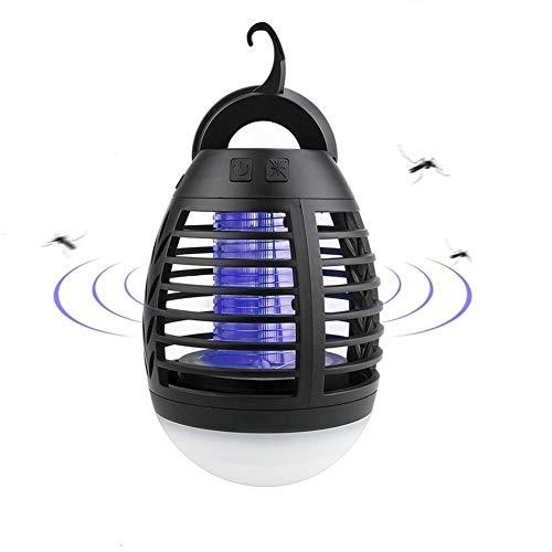 Qisiewell Elektrischer UV Insektenvernichter 2-in-1 Mückenfalle Elektrisch IPX6 Wasserdicht Mückenlampe LED mit 2200mAh Silica Gel Anti-Fall USB Wiederaufladbarer Indoor Outdoor mit Einziehbarem Haken