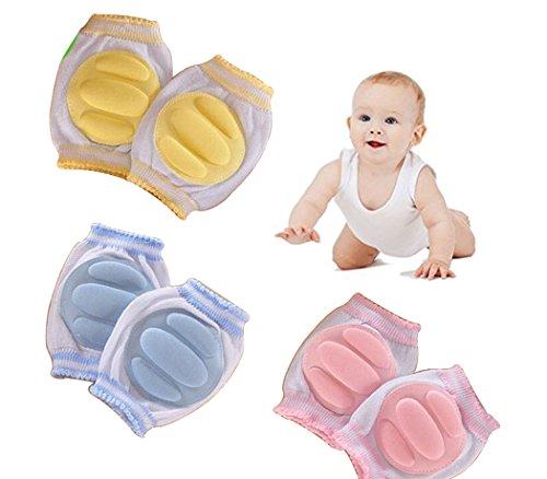 Hillento elastico regolabile elastico bambino infantile bambino ginocchio ginocchiera gomito strisciando protettore di sicurezza, infanti, ragazzi, ragazze, bambini, 3 paia, colore casuale