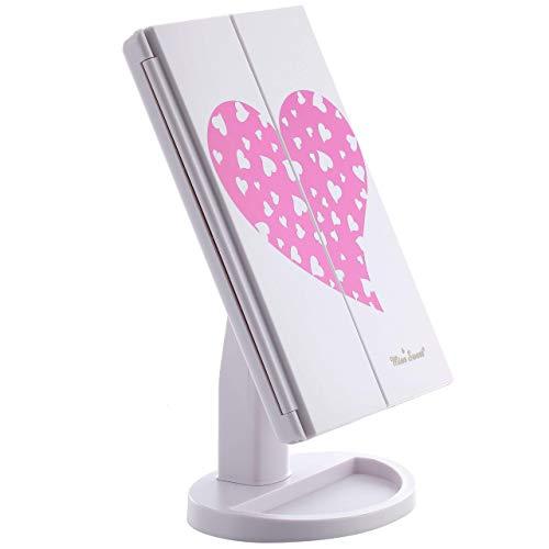 Miss Sweet Espejo con iluminación LED para tocador, diseño de tríptico