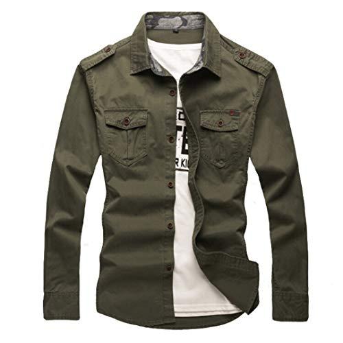 West Louis Camisa de estilo militar con botones para hombre, Verde ejército, Large