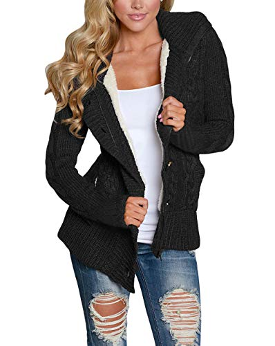 Happy Sailed Damen Langarm Strickjacke Cardigan Strickcardigan Hoodie Jacke mit Kapuze ,Schwarz,M