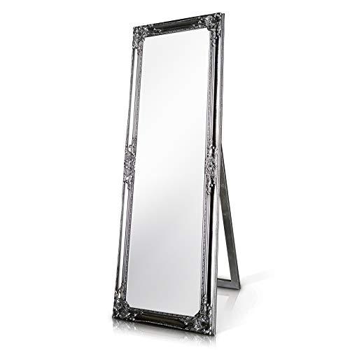 Madera sólida - Shabby Chic Espejo Largo - Grande - 130 x 45 cm - Montado en la Pared o parado con su Pie - Plata