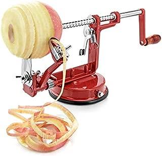 Apple Peeler, Stainless Steel Apple Corer Slicer Peeler, Durable Heavy Duty Die Cast Magnesium Alloy Apple Peeler Slicer Corer with Suction Base, Red