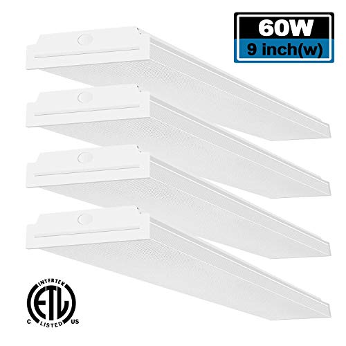 FaithSail 60W LED Wraparound Light 4FT LED Office Lights, 7200 Lumens 4000K, 4 Foot Flush Mount LED Wrap Shop Puff Ceiling Lighting Fixtures for Garage Workshop, Fluorescent Light Replacement, 4 Pack