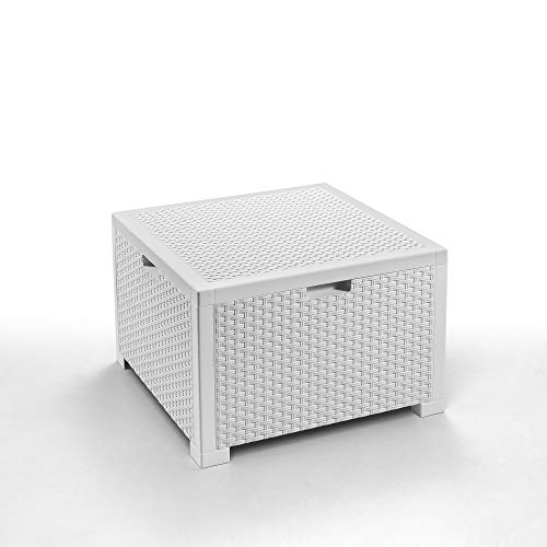 BICA Storage Table Rattan Tavolino Porta Cuscini, Bianco