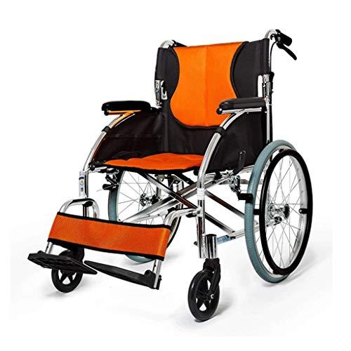 MJY Plegable Portátil de Silla de Ruedas, Viejo Mano Empuje Ruedas Silla Espesado Viaje Discapacitados Cesta armres