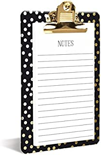 Graphique Gold Dots Clipboard, Highly-Durable and Sturdy Re-Useable Board w/ Stylish Polka Dots, Includes Matching 80 Page Notepad, 6