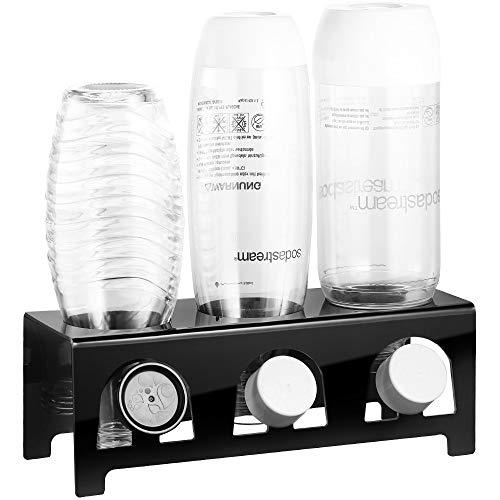 ecooe Abtropfhalter aus Acrylglas Abtropfständer für z.B. SodaStream und Emil Flaschen/Flaschenhalter Platz Für 3 Flaschen und 3 Deckel/Sodastream Zubehör Spülmaschinenfest Schwarz