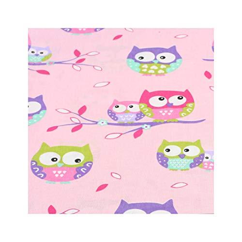 4L Textil Baumwollstoff 100% Stoff Meterware Kinderstoff Baumwolle 50 cm Stoffe zum nähen für Kinder DIY Patchwork Nähen Handwerken Farbige Eulen Pink Rosa
