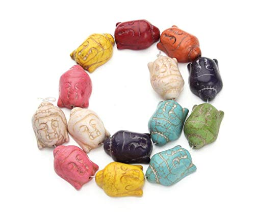 About 14pcs Colorful Turquoise Stone Carved Buddha Beads Magnesite Buddha Head Coral Spacer DIY Jewelry Making Spacer Bead for Beaded Necklace Bracelet