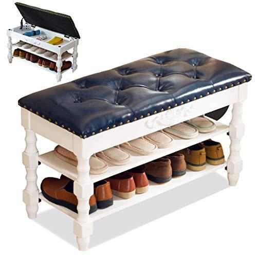 Zapatero De Madera Maciza De Entrada Taburete Cambiador De Zapatos Para Salón Casero Tallado A Mano Almacenamiento De Gran Capacidad Cuero PU Tienda De Ropa Hotel Los60(Color:Azul + blanco,Size:90cm)
