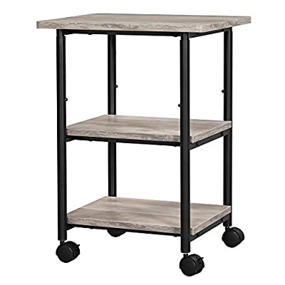 VASAGLE Industrial Printer Stand, 3-Tier Machine Cart with Wheels and Adjustable Table Top, Heavy Duty Storage Rack for Office and Home, Greige and Black UOPS003B02