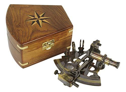 Sextant Messing antik Holzbox - perfekt für die maritime Dekoration