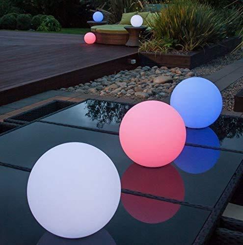 Boule LED solaire 30 cm, lampe sphère 7 couleurs RGB, avec fonction de changement de couleur + ancrage, câble USB de charge