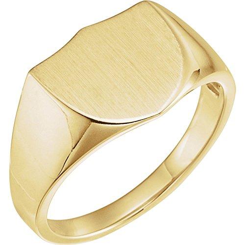 JewelryWeb Herren-Siegelring 14 Karat Gelbgold 14 mm Größe V 1/2