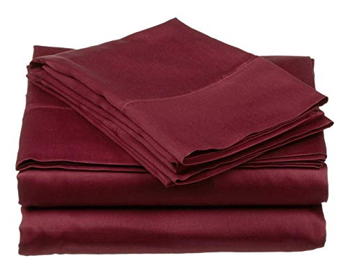 High Strength Natural Bamboo Fiber Yarns Egyptian Comfort 1800 Thread Count 4 Piece Queen Size Sheet Set, RED Color