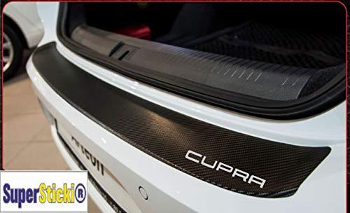 SUPERSTICKI Cupra Carbon Carbonfolie Carbon Aufkleber Folie Optic Heckaufkleber ca 140cm+Logo Farbauswahl Rennsport Racing Tuning