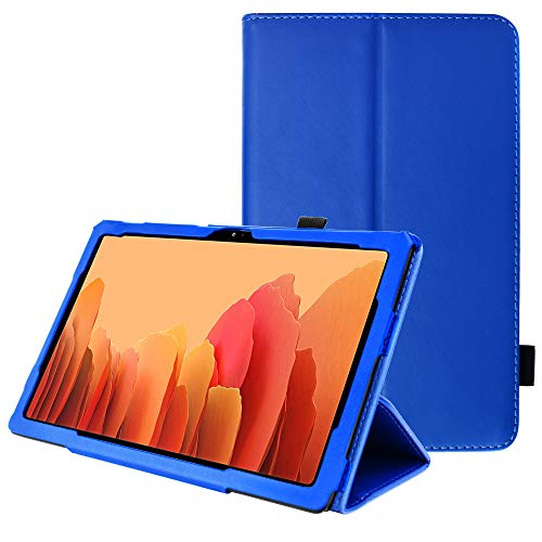TECHGEAR Leather Case for Samsung Galaxy Tab A7 10.4' (SM-T500 / SM-T505) Premium PU Leather Slim Folio Stand Smart Case Cover with Hand Strap, Auto Sleep/Wake [Blue]