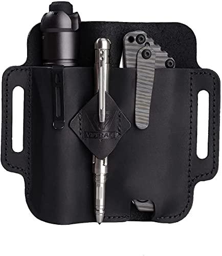 VIPERADE PJ19 Multitool Sheath EDC Belt Organizer Hademade 2 Pockets Belt Leather Sheath for Men/ Knife/Tool/Flashlight/Tactical Pen, Pocket EDC Organizer Leather Sheath (Black-PJ19)