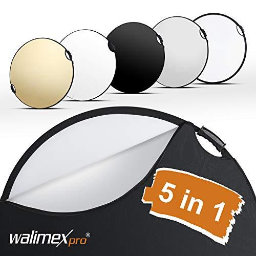 Walimex pro 5in1 Faltreflektor Wavy Comfort Ø 80cm, Set aus 4 Farben und Diffusor, Pop Up Reflektor rund, kompakt und leicht, mit Zwei bequemen Griffen, inkl. Tasche, für Studio und Outdoor