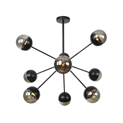 Cclight Vintage Schwarz Zweig Unterputz Kronleuchter, 9 Flammig Grob Satellit Pendelleuchte Globus Ball Blase Glas Lampeenschirm Eisen Sputnik Lampe Bar Flur-9-lichter Rauchgrau