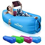 IREGRO Inflatable lounger Waterproof inflatable Sofa with Storage Bag Air Sofa lounger Hammock with Headrest Inflatable Couch Fit for Travelling, Camping,Pool and Beach (Blue)