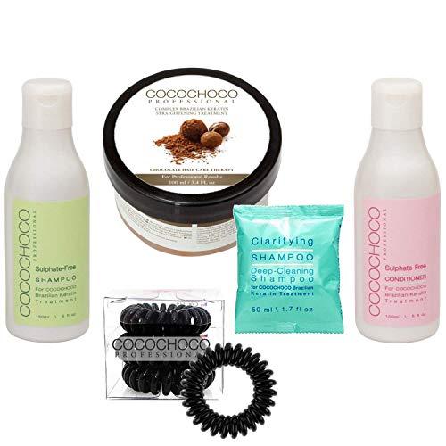 Cocochoco Professional Keratin Set - Brasilianisches Keratin 100 ml, Clarifying Shampoo 50 ml, Sulfatfreies Shampoo 150 ml, Sulfatfreies Konditioner 150 ml und 3 Stück Haargummis