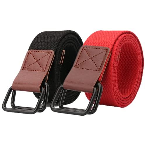 DTKJ Cinturón de lona unisex, cinturón de doble hebilla, 3,8 cm x 120 cm, negro/rojo, 120 cm