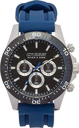 Cressi Nereus - Reloj Deportivo Analógico de Cuarzo, Resistente al Agua 200 MT, con Cronógrafo y Calendario, Negro/Azul, Uni