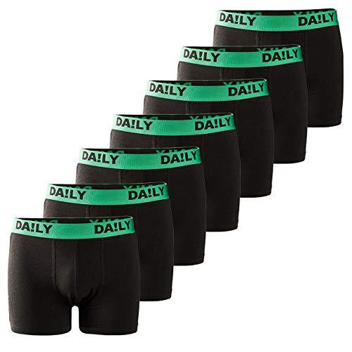 DA!LY UNDERWEAR Herren Boxershort Basic Boxer Retro Trunks 7er Pack Unterhosen Schwarz Waistband Bunt 95% Baumwolle Daily S M L XL XXL 3XL 4XL 5XL 6XL, Größe:4XL, Farbe:Grün/Schwarz