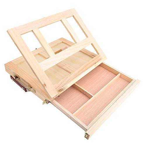 Caballete trípode de madera de pino natural, caballete de mesa Caballete de arte Caballete de escritorio Soporte de exhibición plegable portátil, con cajón, para estudiantes artistas principiantes