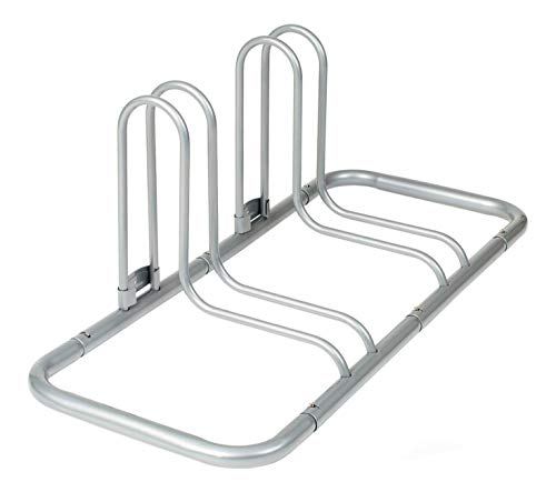 Retrospec Stash Rack 2 Bike Floor Stand Bicycle Storage Organizer, Grey