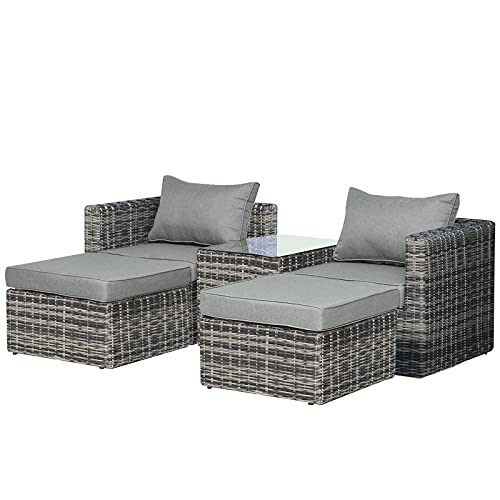 Outsunny 5 Pcs Rattan Garden Furniture Set w/Tall Glass-Top Table Aluminium Frame Plastic Wicker Thick Soft Cushions Comfortable Outdoor Balcony Home Sofa - Mixed Grey