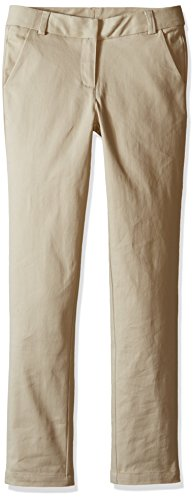 Nautica Big Girls' Uniform Straight Leg Stretch Twill Pants, Khaki, 7