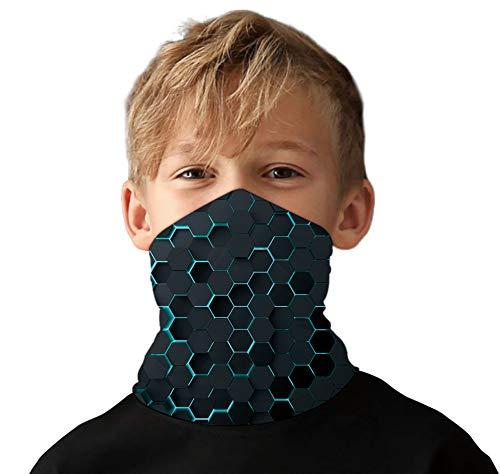 Lovekider Multifunktionstuch Kinder 3D Druck Eisseidenstoff Halstuch UV Widerstand Kopftuch Elastische Gesicht Bandana für Jungen Mädchen Radfahren Angeln Outdoor 3D One Size