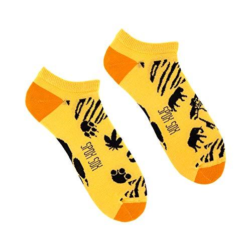Spox Sox Low Unisex - mehrfarbige, bunte Sneaker Socken für Individualisten, Gr. 44-46, Safari