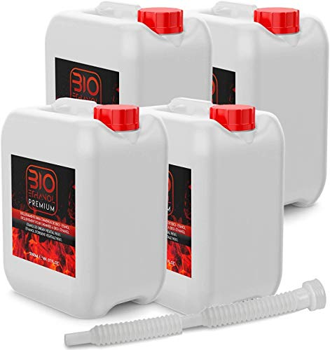 Bioetanol Premium 4 x 5 litros Embudo para chimeneas - Etanol Vegetal para chimeneas