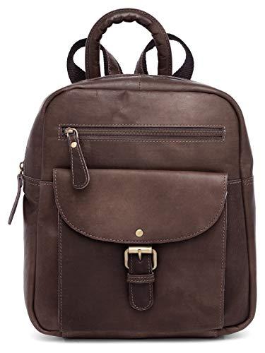 Ladies Backpack J. Wilson London Leather Backpack for Women Girls Schoolbag Casual Daypack School Bag Satchel (Vintage Brown)