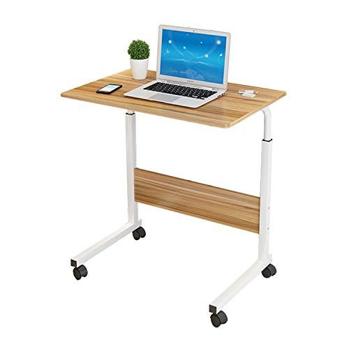 JIAODIE Laptop-Tisch Computer-Schreibtisch, PC Steht Höhenverstellbarer Sofa Snack Nachttisch mit Rollen, beweglichem Beistelltisch für Sofa-Bett (80x50 cm),Schwarz