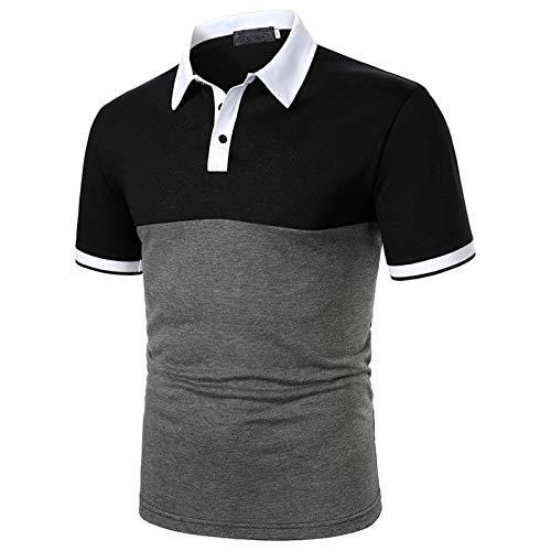 YSYOkow Camisas de polo de gran tamaño para hombres solapa manga corta verano Tee ocio contraste color patchwork rayas golf blusa Tops