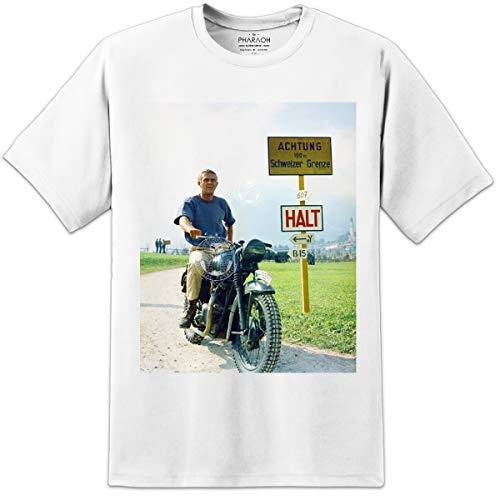 Digital Pharaoh - Herren Steve McQueen Große Flucht Filmposter T-Shirt - Weiß, XL