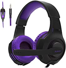 Surround Sound Gaming Headset with Microphone, Over Ear Headphones,Retractable Noise Cancelling Mic Compatible with PS4,Xbox One, Computer, Mac, Laptop,Phones,Black Purple