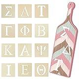 24 Pieces Greek Letter Stencils Wooden Alphabet Stencil Greek Paddle Unfinished Greek Letters Painting Greek Letters Reusable Greek Letter Wooden Sign for DIY Crafts, Wall Decor