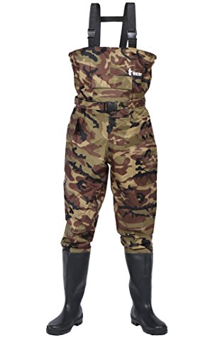 Ouzong Bootfoot Chest Waders,Cleated 2-Ply Nylon/PVC Fishing & Hunting Lightweight Waterproof Chest Waders for Men and Women (Green and Camo 8-13)