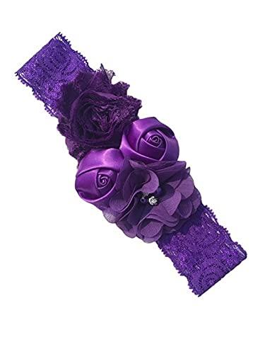 3 diademas elásticas para el pelo con diseño de rosas y flores, 18 colores (color: 11 morado, tamaño: talla para todos)