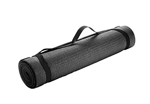 Mind Reader YOGAPVC-BLK All Purpose Extra Thick Yoga Fitness & Exercise Mats with Carrying Strap, High Density Anti-Tear, Black
