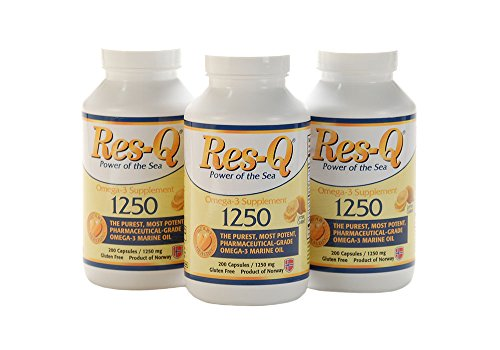 Res-Q 1250 Omega-3 Lemon Coated Fish Oil 200 Capsules 3-Pack